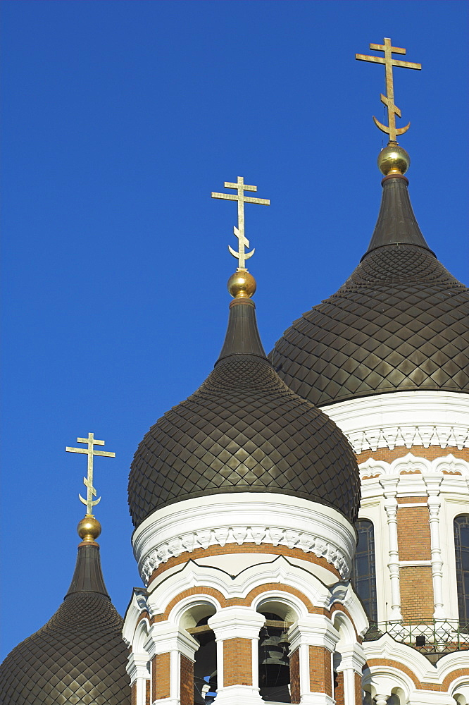 Domes of the Alexander Nevsky Cathedral, Russian Orthodox church, Toompea Hill, Tallinn, Estonia, Baltic States, Europe