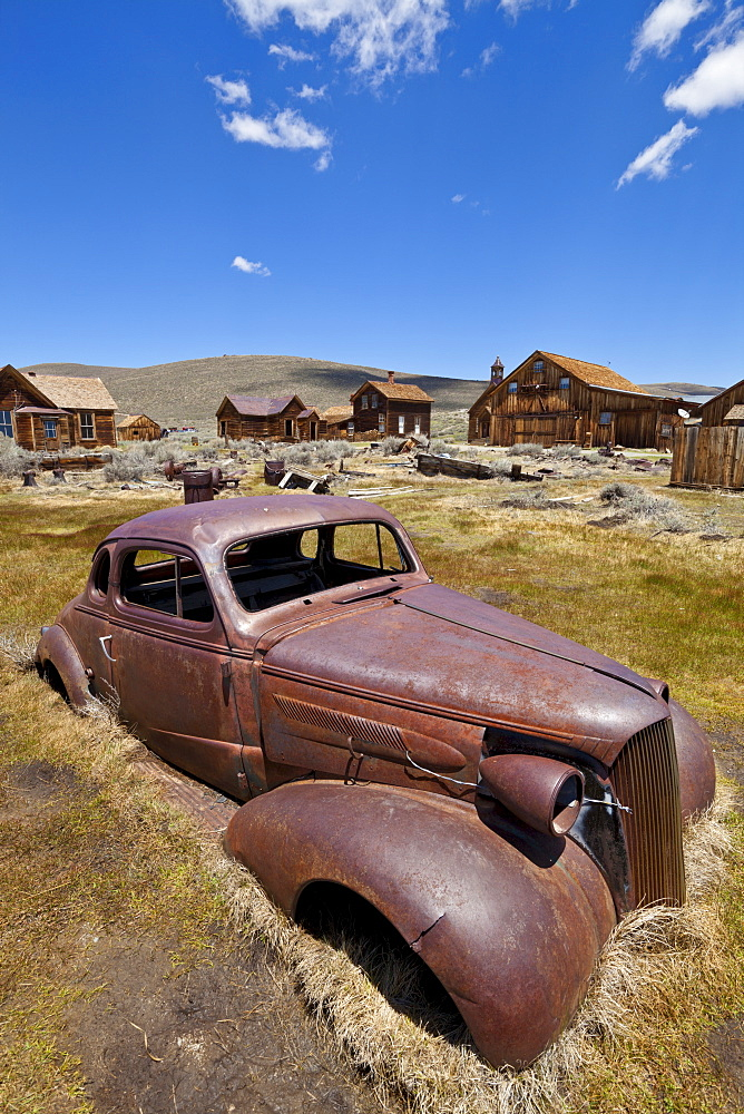 Old rusty American car in the California gold mining ghost town, Bodie State Historic Park, Bridgeport, California, United States of America, North America