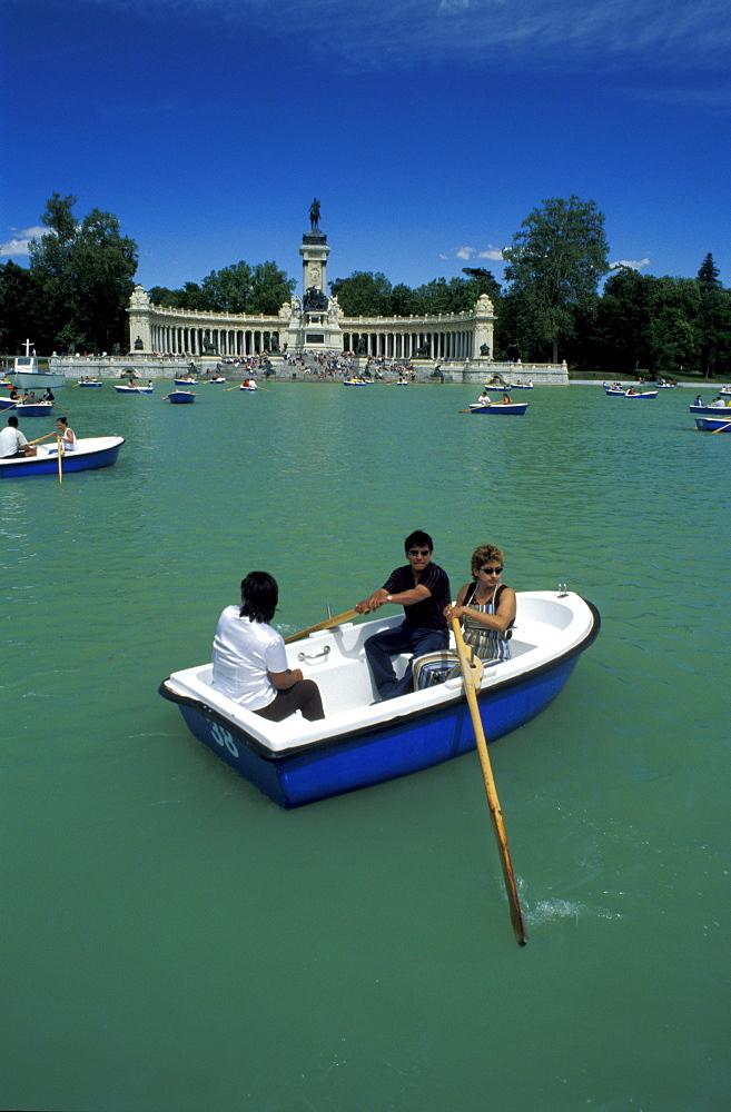 Spain, Madrid, Retiro Park & Lake On Saturday