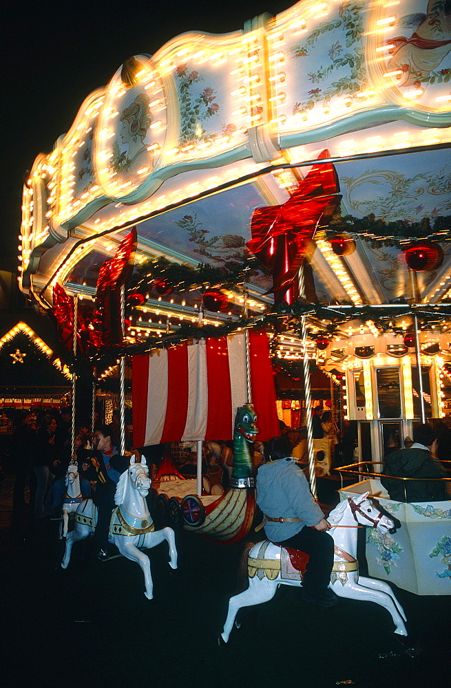 France, Lorraine, Moselle (57), Metz, Merry Go Round At Night During Xmas Market