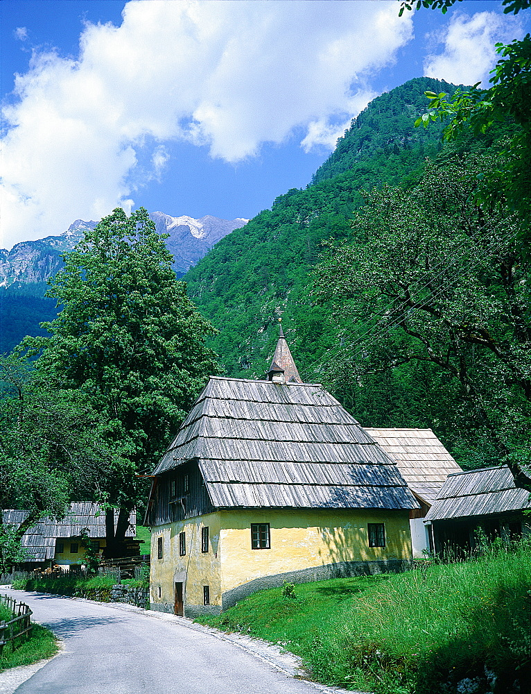Slovenia, Alps, Upper Soca Valley, A Typical Village With Wood Plank Roofs