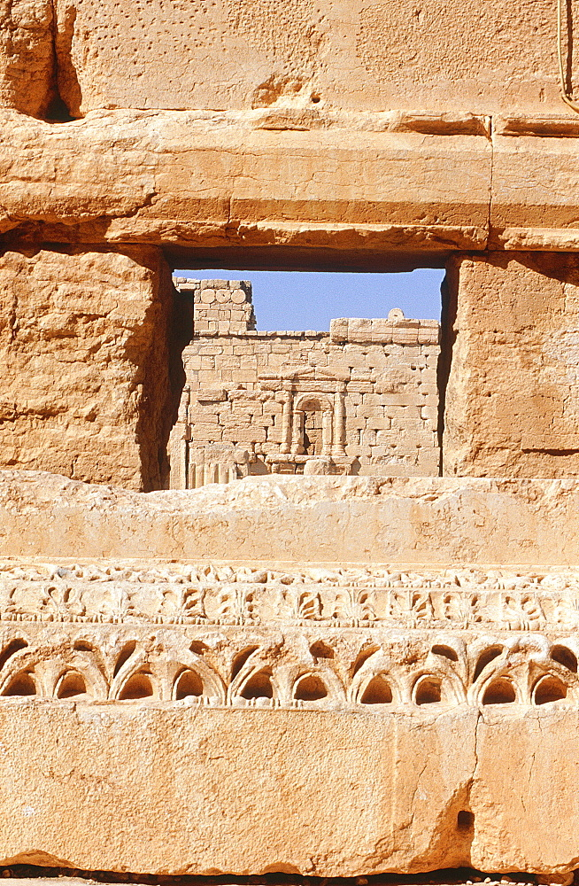 Syria, Palmyra Oasis, The Temple Of Bel Consecrated In 32 Ad, View Of The Temple Yard Through A Sanctuary Gate