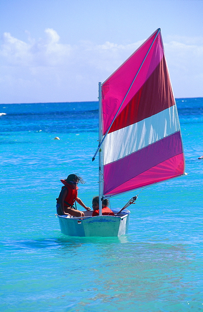 French West Indies, Guadeloupe, Children Practising In A Small Sailing Boat