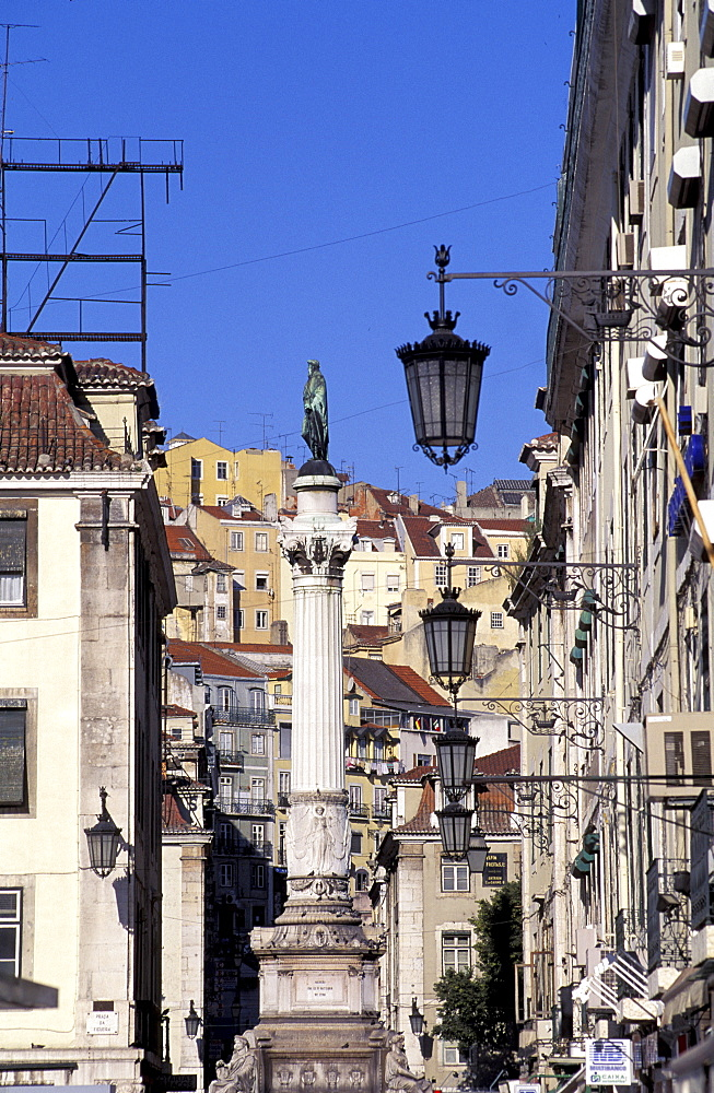 Portugal, Lisbon, Column And Perspective In The Alfama Quarter