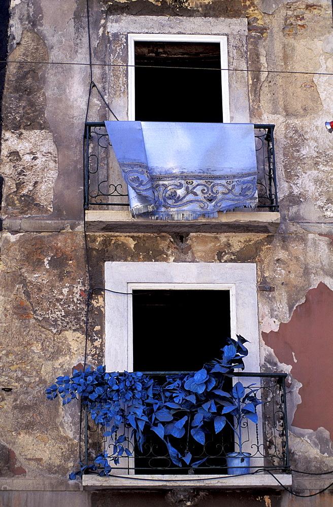 Portugal, Lisbon, Barrio Alto Quarter, Anonymous Art Work On A Decrepit Facade