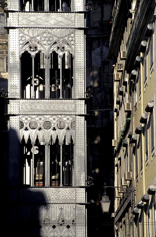 Portugal, Lisbon, Alfama Quarter, The Historic Lift Designed By Eiffel