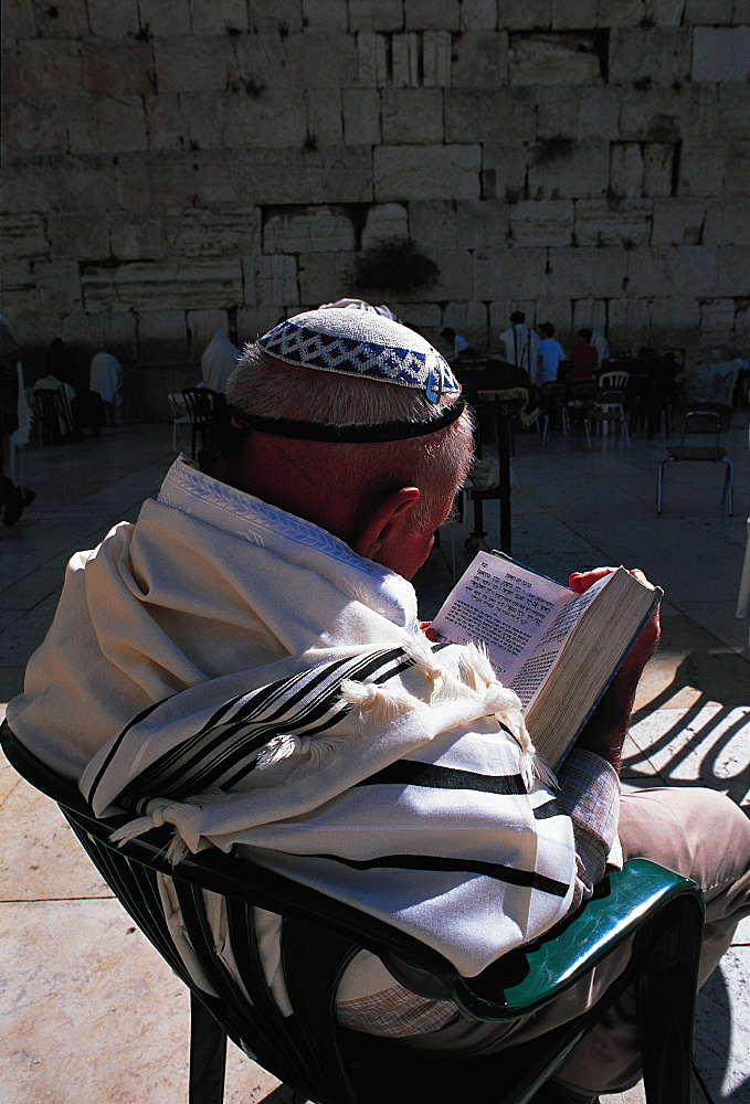 Man Reading Talmud At Wailing Wall, Jerusalem, Israel