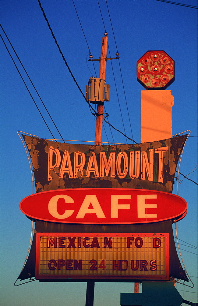 Usa, Nm, Gallup, Route 66 Cafe Sign