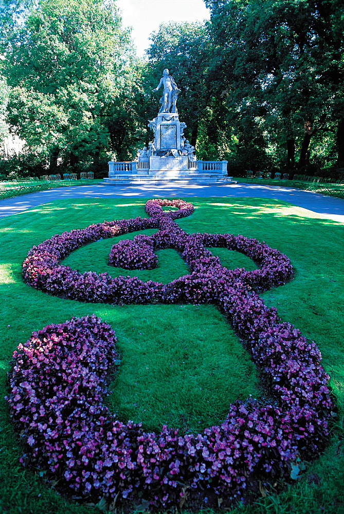 Monument To Mozart In Park, Vienna, Austria