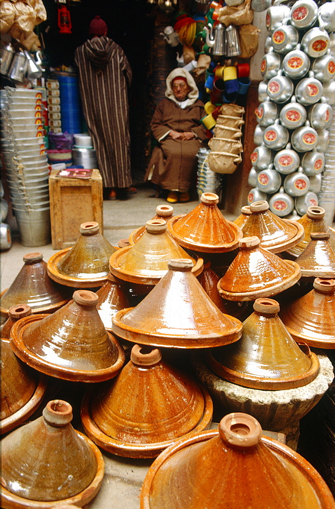 Morocco, Fes, Medina (Old City), Pottery Seller, Plates For Cooking Traditional Tajines