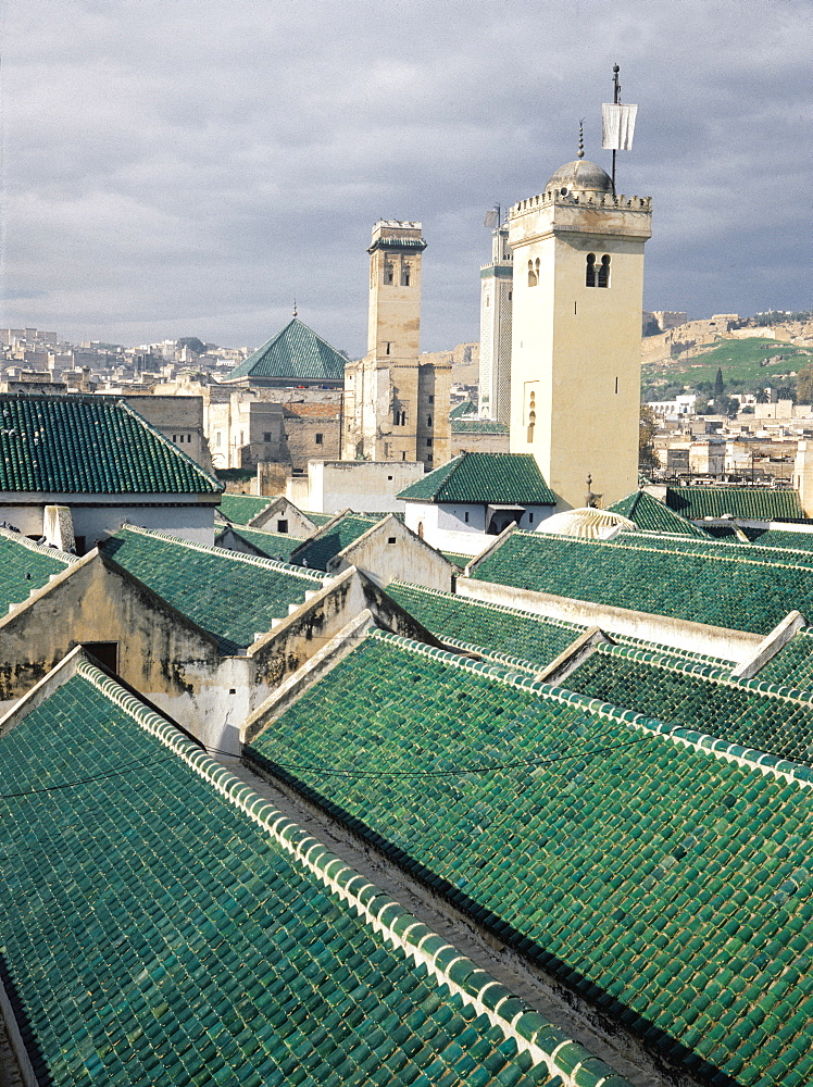 Morocco, Fes, Kerayuin Mosque, Overview On Roofs Made Of Green Tiles