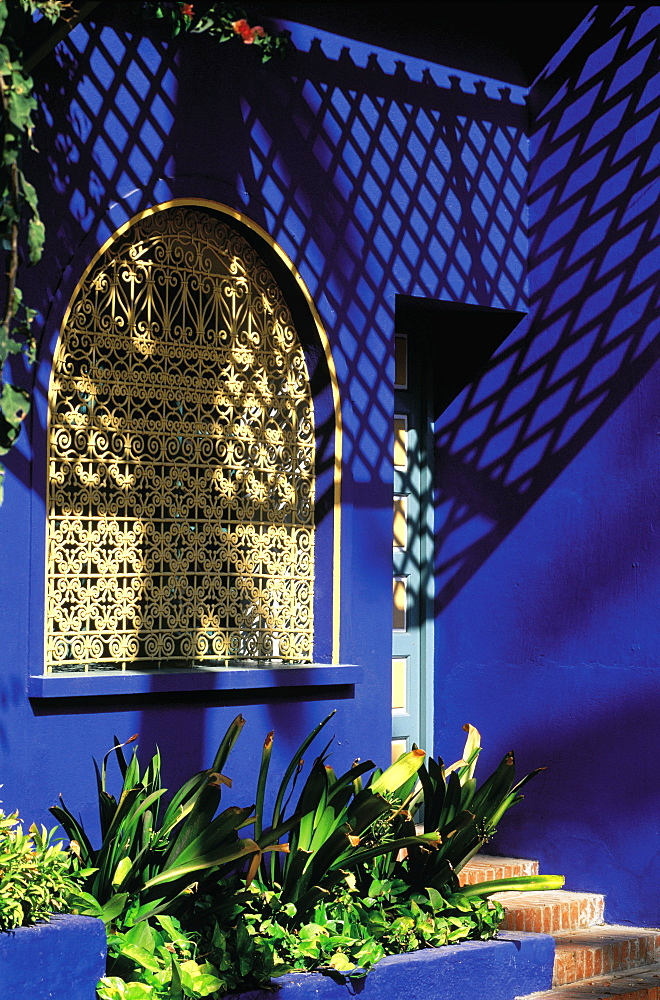 Morocco, Marrakech, The Painter Majorelle House Painted In Blue, Detail Of The Facade On Gardens