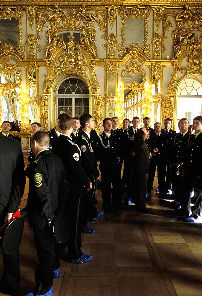 Russia, Saint Petersburg, Tsarskoie Selo (Pushkin) Catherine Ii Castle, Group Of Military Students Visiting