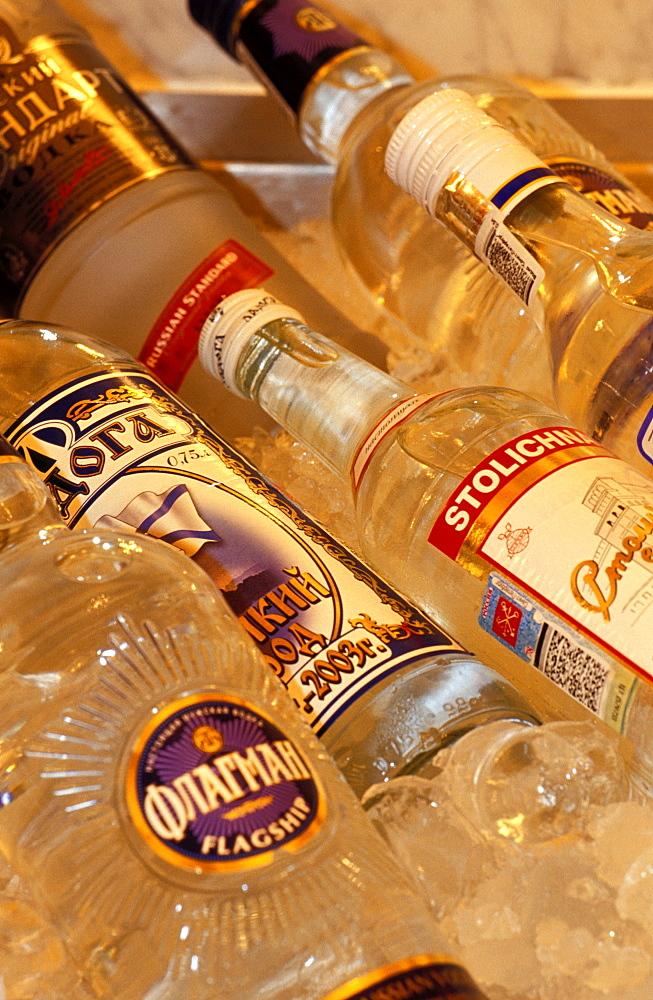 Russia, Saint Petersburg, Vodka Bottles Hold Fresh In Astoria Restaurant Display Unit  *** Local Caption ***