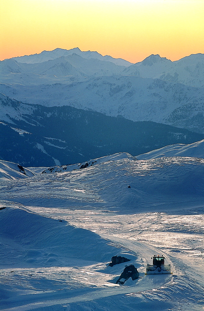 France, Alps In Winter, Overview On Mountains At Dusk, Ski Trail At Fore Being Maintained