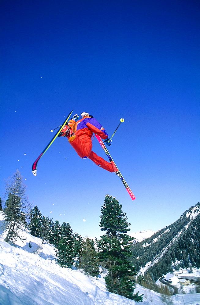 France, Alps In Winter, Acrobatic Ski Jump