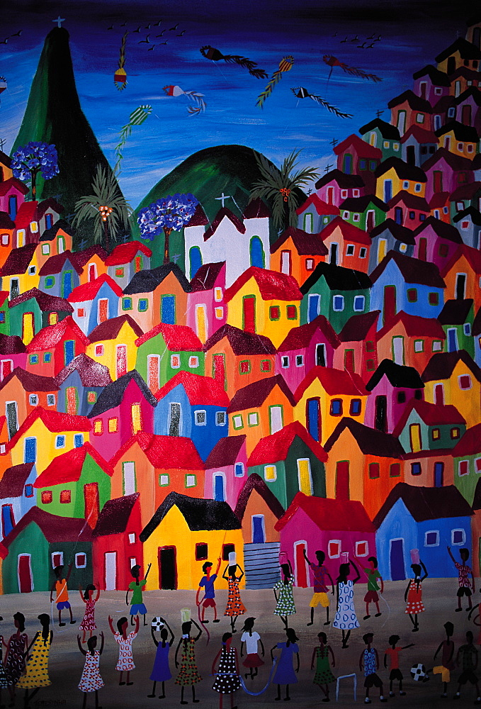 Brazil, Rio De Janeiro.Naive Painting Representing A Rio Favella (Crowded Slums On The City Sloppy Hills)