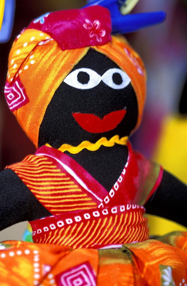Caribbean, West Indies, Barbados, Bridgetown, The Visitors Market At Bridge, Bajan Barbadian Puppet With 2 Faces