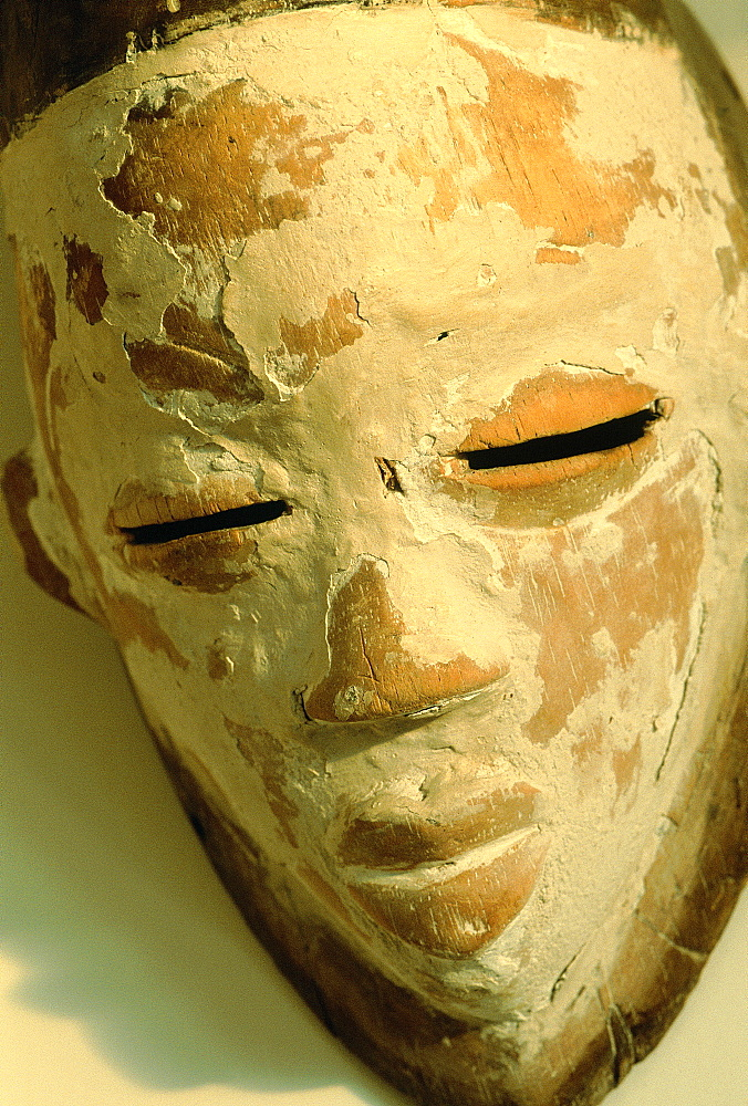 Africa, Gabon, Punu Ancient Mask Painted With Kaolin For Secret Ceremonies