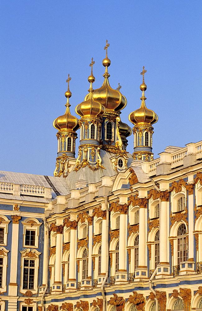 Russia, St-Petersburg, Tsarskoie Selo (Pushkin), Catherine Palace In Ner Yard Facade With Golden Belfries Church