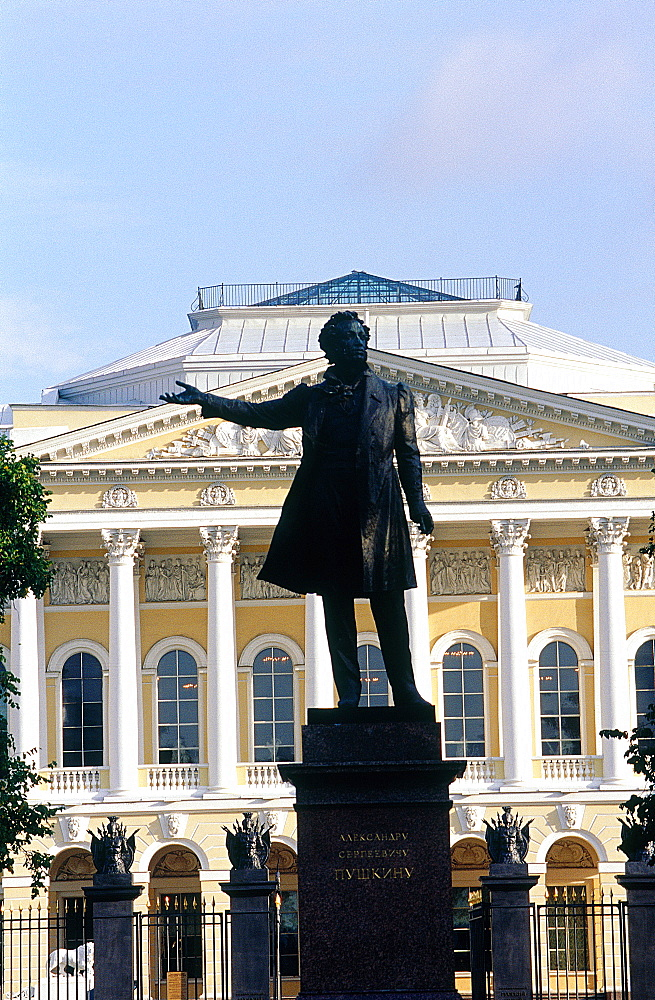 Russia, St-Petersburg, Michaelovsky Palace Built 1819-1925 By Architect Carlo Rossi, Now The Russian Museum, At Fore Statue Of Writer Pushkin