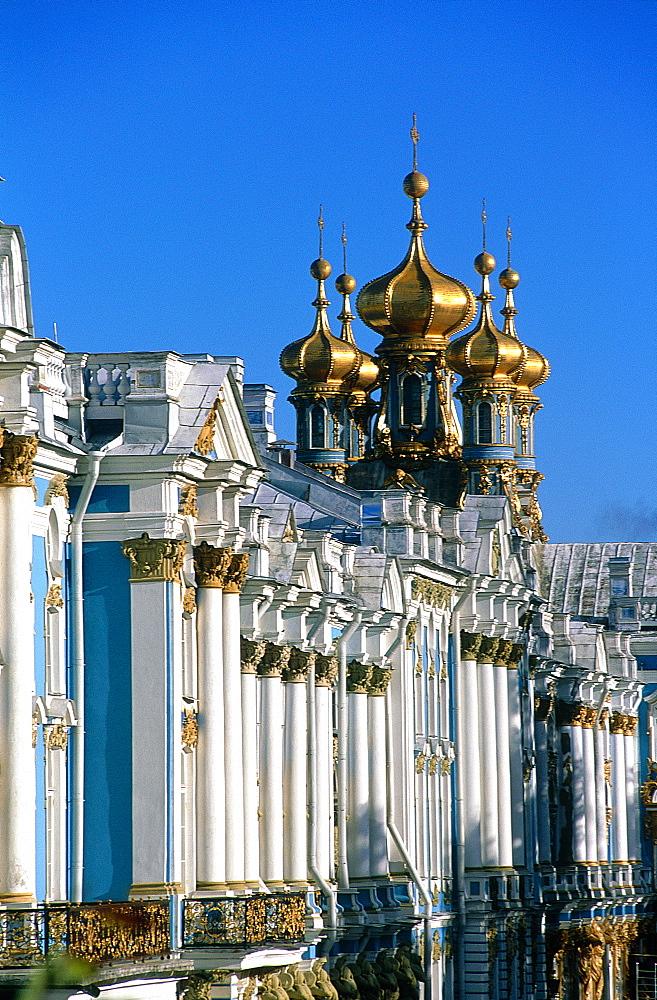 Russia, St-Petersburg, Tsarskoie Selo (Pushkin), Catherine Ii Palace, The Facade On Park