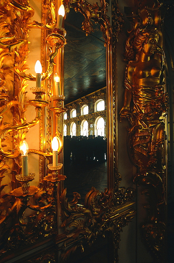 Russia, St-Petersburg, Tsarskoie Selo (Pushkin), Catherine Ii Palace, Reflections In A Mirror In The Great Ballroom