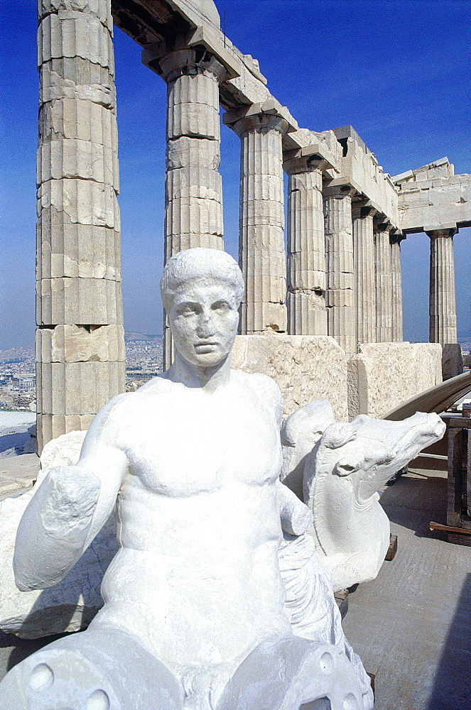 Greece, At Hens, Acropolis, In Side The Parthenon Temple, Modern Reproductions Of Antique Statues