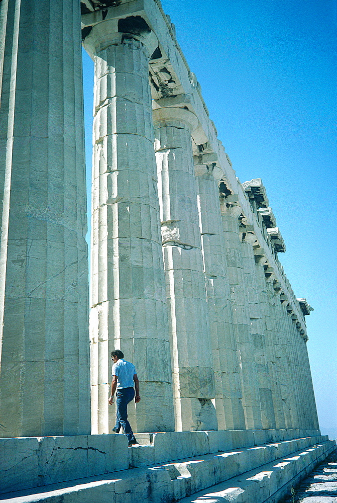 Greece, At Hens, Acropolis, Man Entering The Parthenon Temple