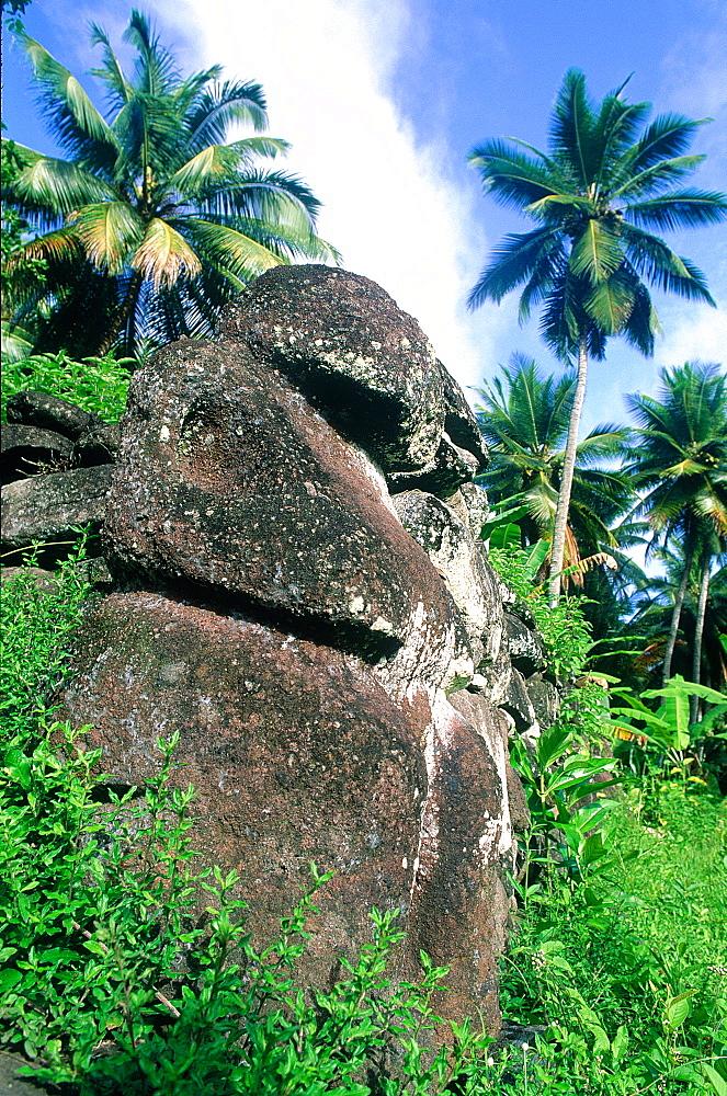French Polynesia, Marquesas Archipelago, Nuku-Hiva Island, Taipi Vai Valley, Tiki (Stone Sculpture) On Ancient Religious Site ((Mea'e)