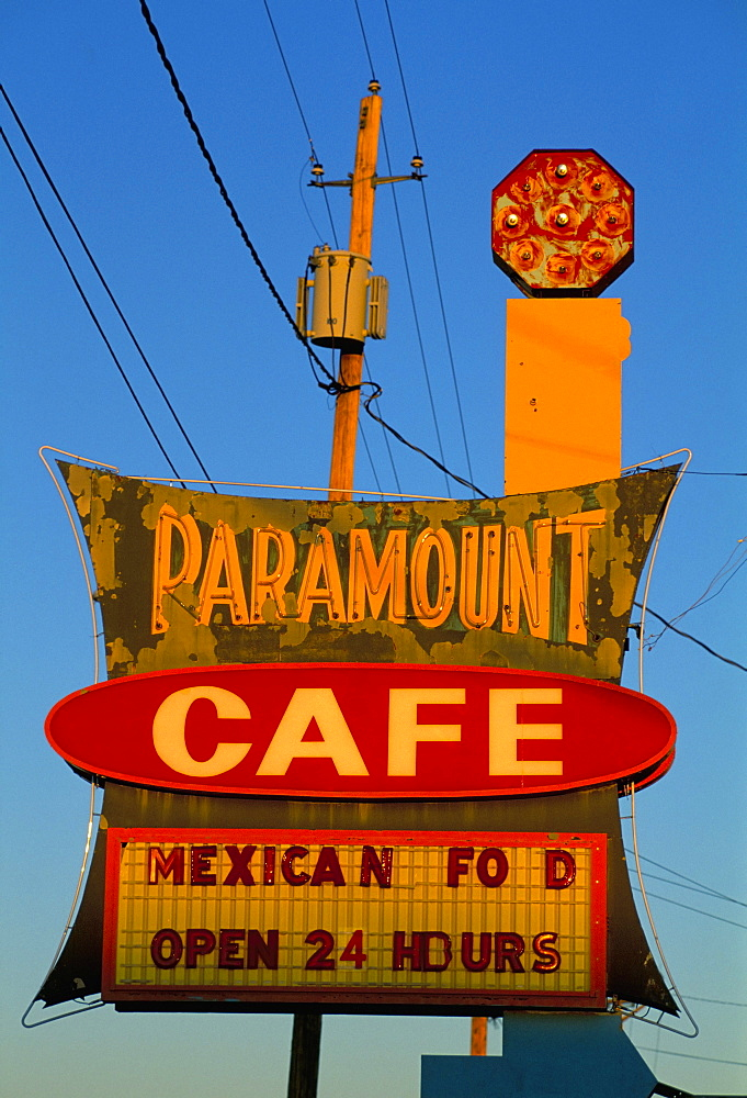 Cafe sign, Gallup, New Mexico, United States of America, North America