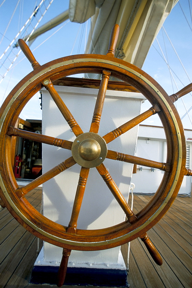Ship's wheel on cruise ship, Southeast Asia, Asia - 700-9835