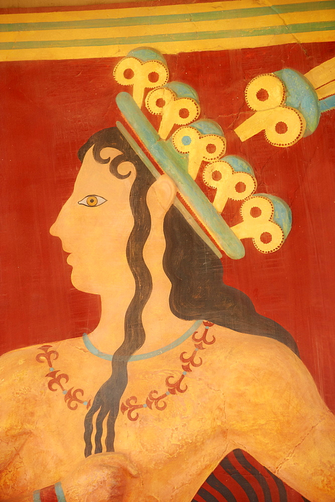 Princess of Lilies fresco, Minoan archaeological site of Knossos, Crete, Greek Islands, Greece, Europe