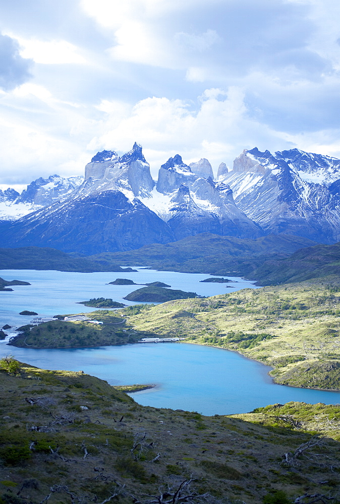 Cuernos del Paine (Horns of Paine) and the blue waters of Lake Pehoe, Torres del Paine National Park, Patagonia, Chile, South America