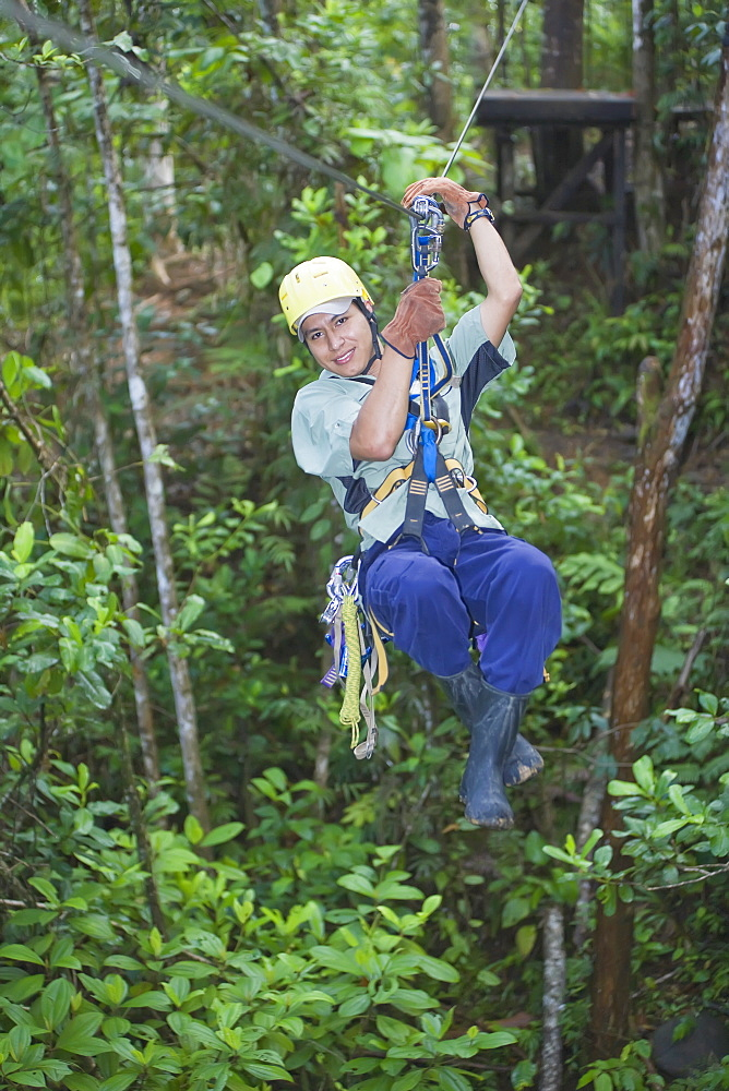 Man on a canopy tour zipline in rainforest, Pacuare River, Turrialba, Costa Rica, Central America