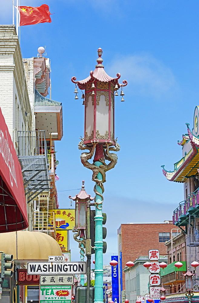 Golden Dragon street lamp in Chinatown, San Francisco, California, United States of America, North America
