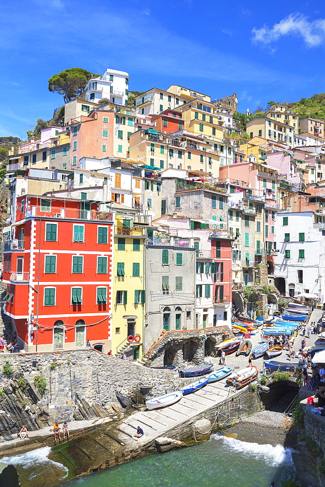 The colorful sea village of Riomaggiore, Cinque Terre, UNESCO World Heritage Site, Liguria, Italy, Europe - 718-2222