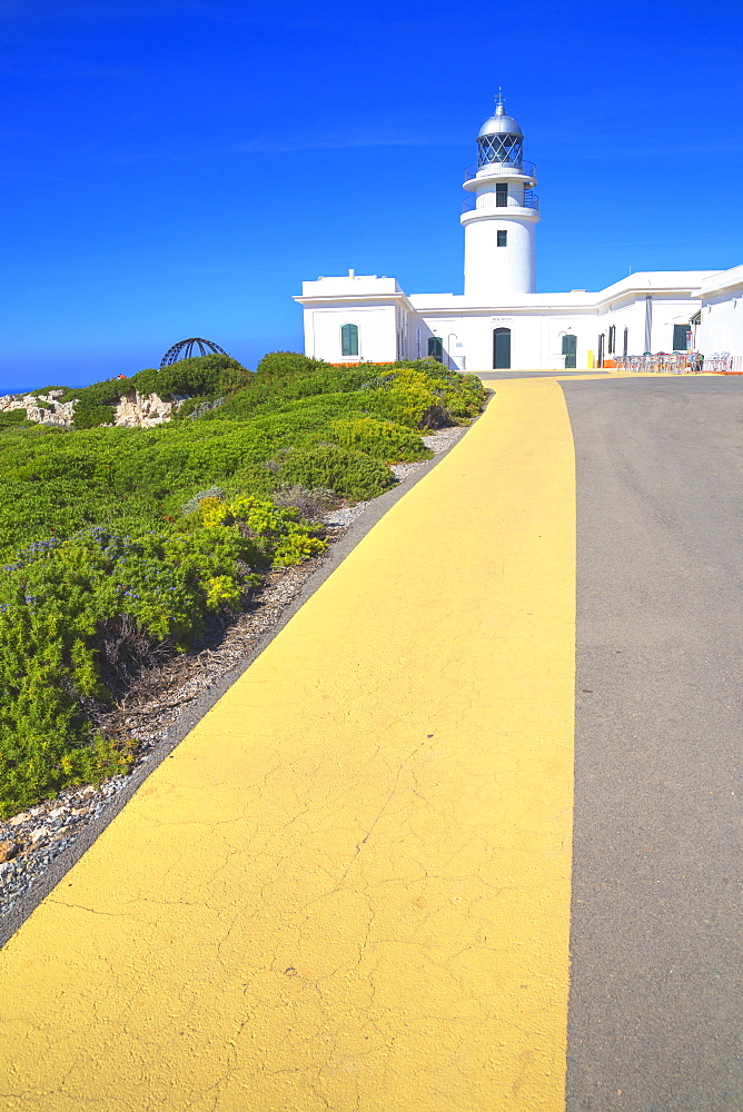The lighthouse at Cap de Cavalleria, Menorca, Balearic Islands, Spain, Mediterranean, Europe - 718-2238
