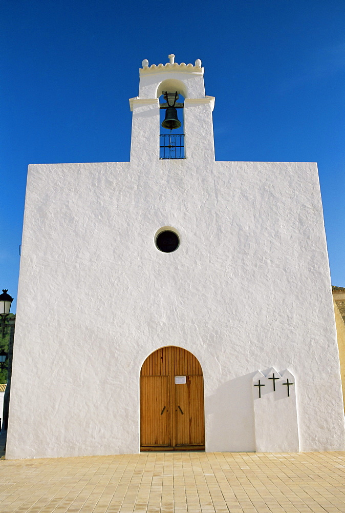 White facade of Sant Augusti de Vedra Christian church, Sant Augusti, Ibiza, Balearic Islands, Spain, Europe - 718-763