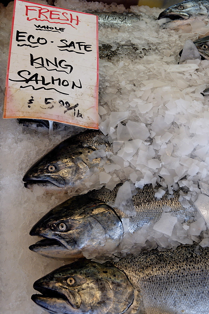Fish for sale in Pike Market, Public Market Center, Seattle, Washington State, United States of America, North America