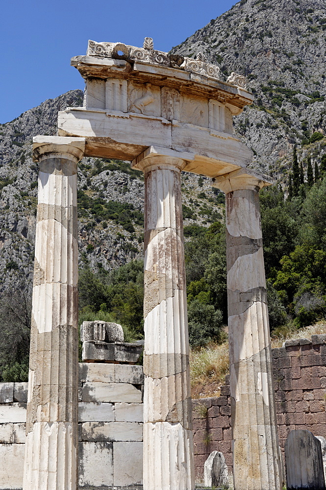 The tholos, a circular building created between 380 and 360 BC at the centre of the sanctuary of Athena Pronaia, Delphi, UNESCO World Heritage Site, Peloponnese, Greece, Europe
