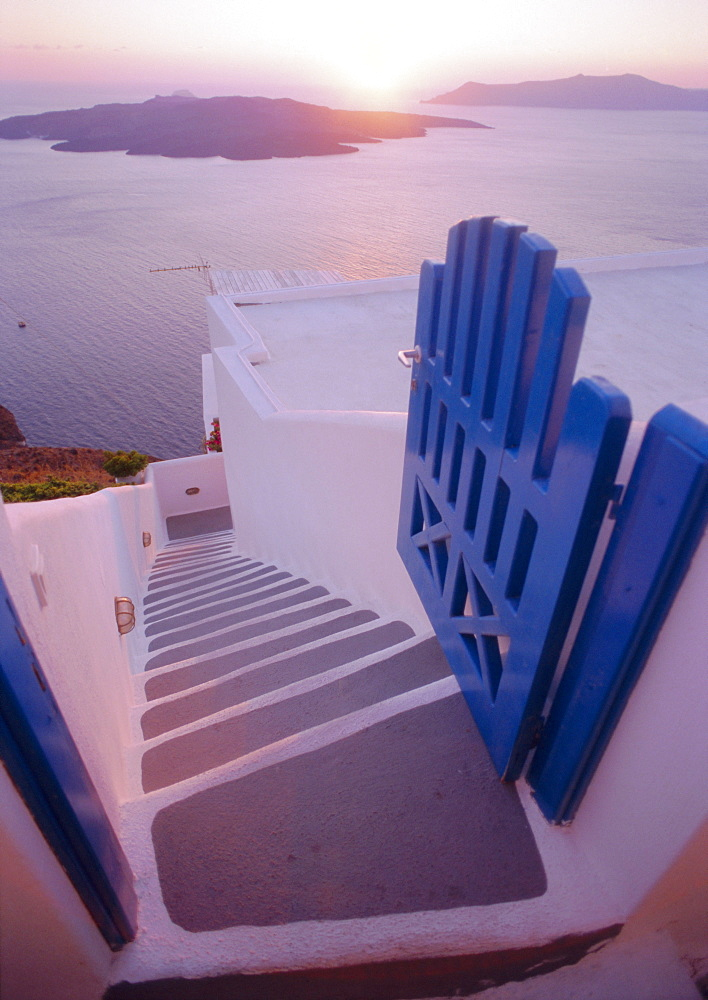 Gate and steps, Thira (Fira), Santorini, Cyclades Islands, Greece, Europe - 728-1850