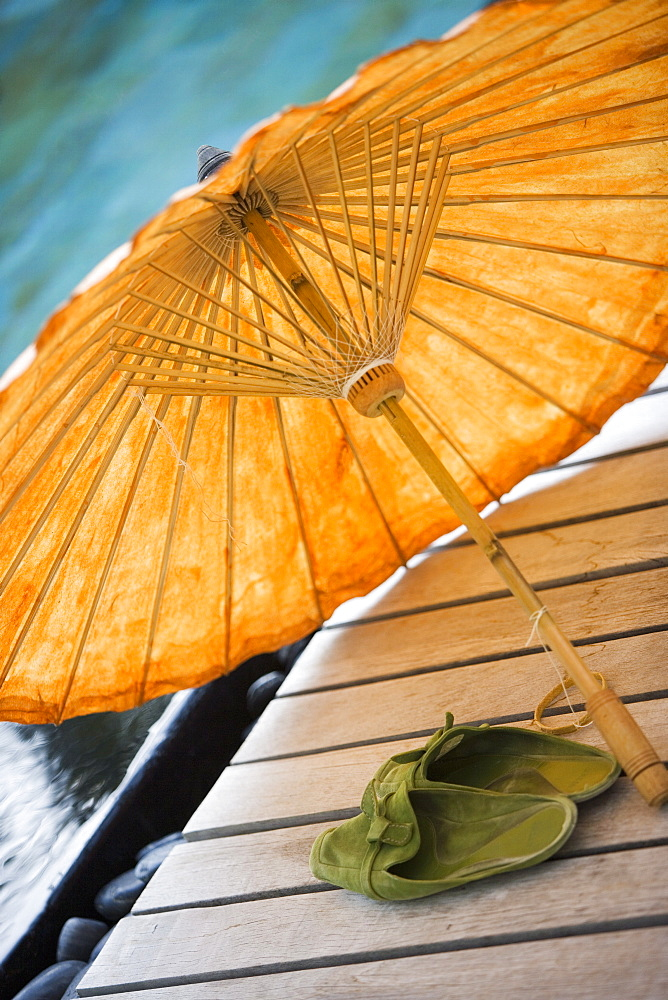 Umbrella and Green Shoes, Maldives - 728-3653