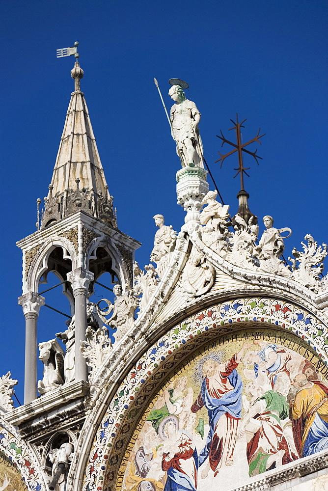 Detail of St. Mark's Basilica, Piazza San Marco (St. Mark's Square), Venice, UNESCO World Heritage Site, Veneto, Italy, Europe