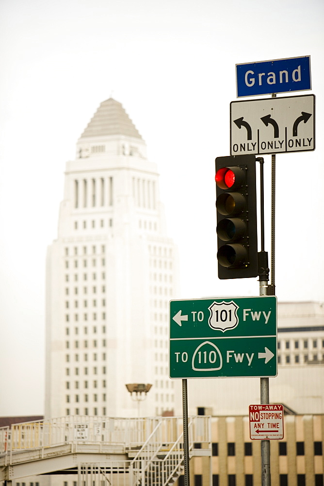 Freeway sign, Downtown, Los Angeles, California, United States of America, North America