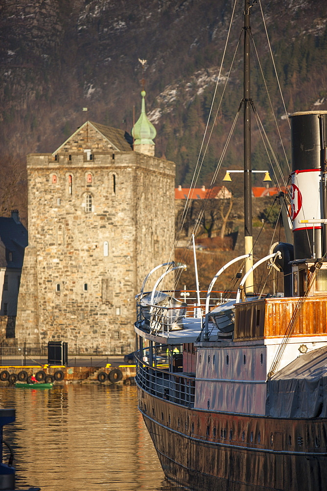 Old ferry and castle, Bergen, Norway, Scandinavia, Europe