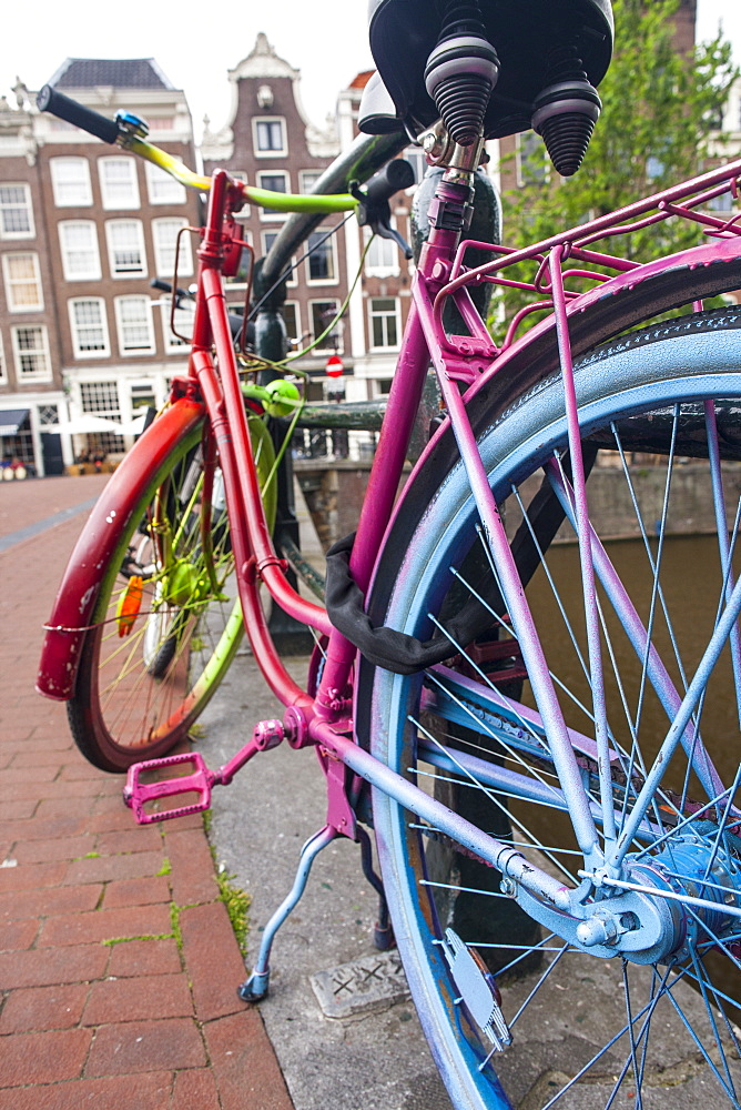 Painted bike, Amsterdam, The Netherlands, Europe