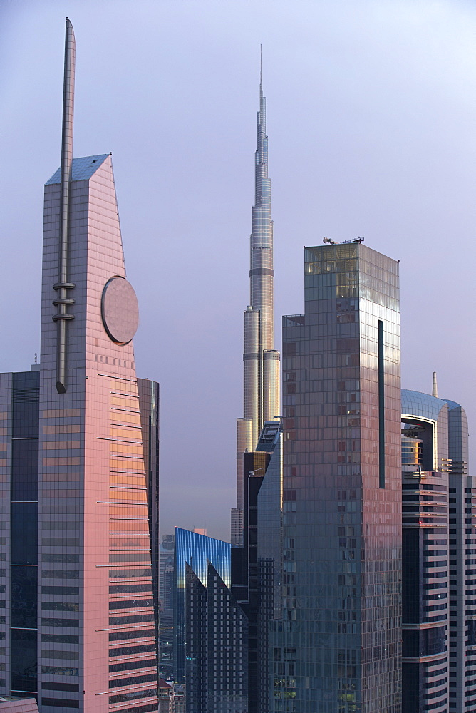 Burj Khalifa and Dubai skyline, Dubai, United Arab Emirates, Middle East