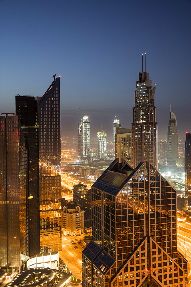 Dawn skyline, Dubai, United Arab Emirates, Middle East