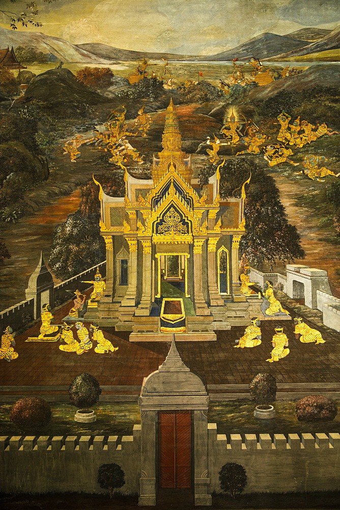 Mural in the Grand Palace, Bangkok, Thailand, Southeast Asia, Asia - 728-6392
